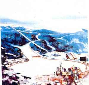 Crtez ciljnog prostora staze za Spust na Babinom dolu na Bjelasnici, iz neke od predolimpijskih brosura.