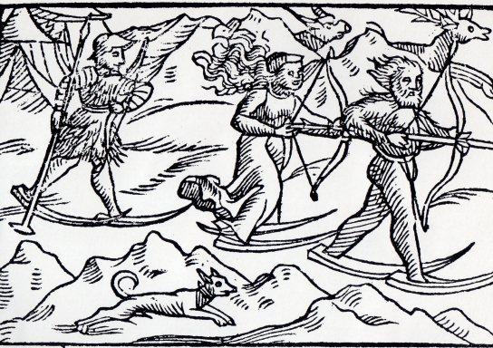 smucari u lovu, prastara gravura