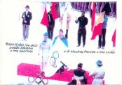 Bojan Krizaj ispred svih takmicara i Dr.Miodrag Perovic ispred sudija - polazu zakletvu na otvaranju ZOI'84. Sarajevo Jugoslavija
