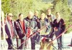 Vojo Tosic, Safet Lakovic, Miodrag Dragan Perovic, Vlatko Slokar, Milivoj Nikolic i Hazim Ribic - smucarske sudije na cilju staze za VSL - Skocine na Jahorini 1982.