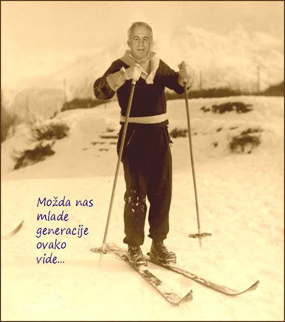 Fotomontaza slike skijasa od prije 100godina