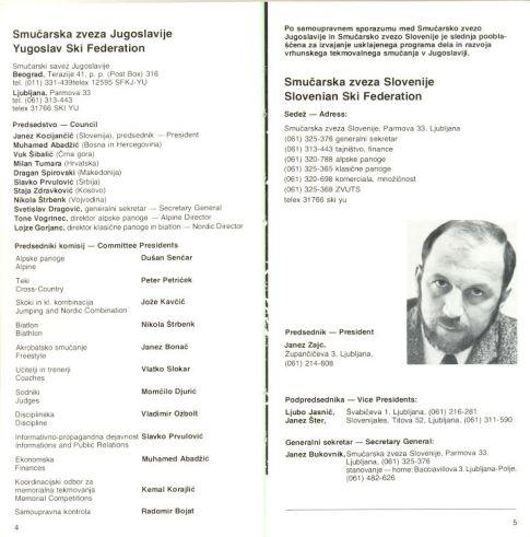 Predsjednistvo Smucarskog saveza Jugoslavije i predsjednici komisija