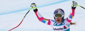 Vonn of the U.S. reacts after finishing her run in women's Alpine Skiing World Cup Super-G in St. Moritz
